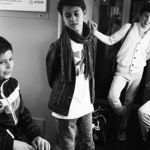 in de trein naar Londen
